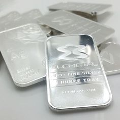 "Elemetal 1oz silver bars. These bars show an interpretation of the atomic structure of silver. The atomic number ""47"", the atomic mass ""107.8682"" , the electron configuration ""Kr5s14d10"" and the atomic symbol ""Ag"" are all inscribed. The electron orbits of silver are shown in a diagram at the bottom of the bar. #silver #bullion #goldstackers #silverstacker #investment #mint"
