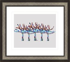 trees colorful 2b, by  fractal mandala art