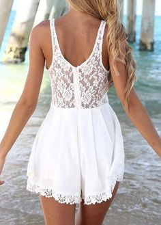 White Round Neck Sleeveless Lace Rompers