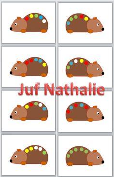 herfst 1-1 relatie. zet op elke bol de juiste kleur wasknijper en geef de egel stekels. http://jufnathaliesegers.blogspot.be/2012/12/blog-juf-nathalie.html