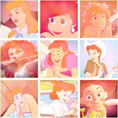 Disney redheads the first one is cinderella but the picture has been