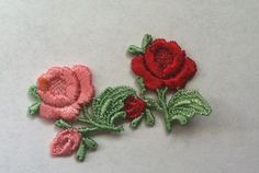 Two Small Embroidered Flower Roses Red and Pink Appliques Victorian Style Applique Flower Patch Botanical Scrapbooking Millinery Crafts S113