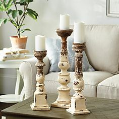 Where to buy home accessories? Find the perfect home accessories and home decor for your space at Ballard Designs! Diy Fimo, Wood Candle Holders, Vintage Candle Holders, Candle Sticks, Wood Lathe, Diy Candles, Fancy Candles, Ballard Designs, Decoration Table