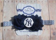 NY Yankees headband Baby HeadbandsNewborn by Frankiesofia on Etsy, $7.95