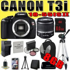 Canon EOS Rebel T3i 18 MP CMOS Digital SLR Camera w/ EF-S 18-55mm f/3.5-5.6 II IS Lens LPE8 Battery / Charger Filter Kit Backpack Tripod 8GB DavisMAX Bundle by DavisMAX. $634.32. This DavisMAX Bundle Includes: 1- Canon EOS Rebel T3i 18 MP CMOS Digital SLR Camera w/ EF-S 18-55mm f/3.5-5.6 II IS Lens Brand New USA w/Manufacturer's Supplied Accessories 1- Rechargeable LPE8 Lithium Ion Replacement Battery (Not Original Canon) (Don't Miss out on a Memory!) 1- 8GB SDHC Secure Dig...