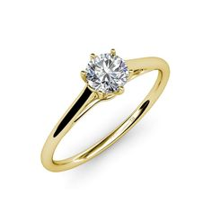 Get creative and showcase your individuality with this Solitaire Ring in which the lovely six prong complements the Center Diamond further highlighting the shank with side crown giving it a glamorous charm.