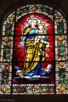 Vidriera de la iglesia mayor de La Concepción, La Orotava, Tenerife, Islas Canarias