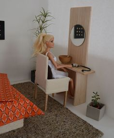 Miniature dressing table 1:6 scale for Barbie, Blythe, Momoko, Fashion Royalty, and other playscale figures.