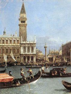 LOCK DOCK DOLO VENICE ITALY ITALIAN CANALETTO PAINTING ART REAL CANVAS PRINT