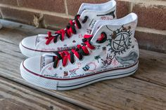 Supernatural Shoes -- LIMITED EDITION custom Chuck Taylor Converse sneakers.  Handpainted   customizable 401f50c755d76