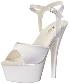 Pleaser Womens Kiss209uvWsaNW Platform dress Sandal White SatinNeon White 9 M US -- You can find more details by visiting the image link.