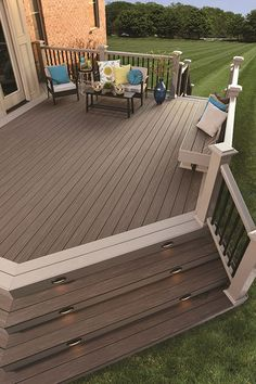 View our Outdoor Living Design ideas. Get inspiration for your Outdoor Living area with our Deck Design Ideas. See Deck colors, Railing options & more. Patio Deck Designs, Patio Design, Small Deck Designs, House Design, Cozy Backyard, Backyard Landscaping, Backyard Ideas, Landscaping Ideas, Sloped Backyard