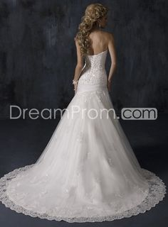 Exquisite Organza A-line Strapless Sleeveless Embroidery Chapel Train Wedding Dresses