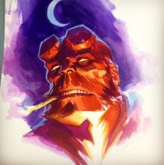 Posted by felipemassafera : #hellboy #gouache #comics #art #painting