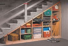 Roundup: Spring Organization Ideas for the Garage and Basement That ADD Space - #toolstorage - Here are some garage and basement organization ideas that actually ADD SPACE. DIY shelving hacks, garden tool storage, and under-stair storage tips.... Basement Storage Shelves, Stair Shelves, Tool Storage Cabinets, Stair Storage, Diy Shelving, Storage Organization, Storage Ideas For Basement, Craft Storage, Organization Ideas For Garage