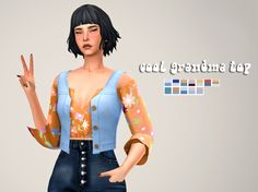 Kiss My Coins Goodbye EA, cool grandma top BGC Teen-Elder disabled for. Sims 4 Mods Clothes, Sims 4 Clothing, Sims Mods, Sims 4 Decades Challenge, Maxis, Cc Top, Sims 4 Teen, Sims4 Clothes, Play Sims