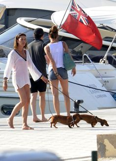 Princess Caroline of Monaco and her dachshunds