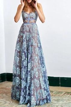 A-line Spaghetti Straps Sleeveless Floor Length Blue Backless Lace Prom Dress