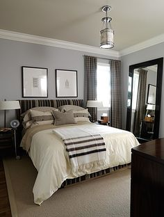 "Boy's Bedroom | Sarah Richardson     A simple, but sized ""just right""...the crown molding finishes the space. The addition of the light fixture in the middle of the ceiling catches your attention. The molding profile is a classic look."