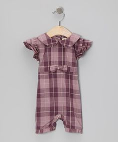 Take a look at this Purple Plaid Peter Pan Organic Romper - Infant by violet + moss on #zulily today!