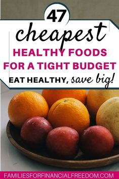Find 47 of the cheapest healthy foods you can buy! Save money on groceries while still eating healthy! Eat cheap, healthy foods on a budget. See ideas for cheap and healthy foods. Easy cheap and healthy foods ideas! Cheap and healthy foods for college. Frugal Living Tips, Frugal Tips, Frugal Meals, Budget Meals, Easy Meals, Food Budget, Money Saving Meals, Save Money On Groceries, Grocery Savings Tips