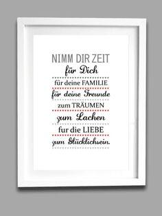 Nehmt Euch Zeit für Euch selbst, Kunstdruck, Dekoration / print art, time for yourself by Personalisierte Taufgeschenke via DaWanda.com