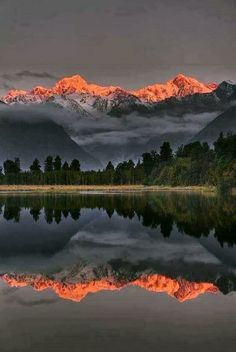 Sunset Reflection Of Lake Matheson Framed Print by Colin Monteath , landscape photography with people Beautiful World, Beautiful Places, Jolie Photo, Amazing Nature, Pretty Pictures, Amazing Pictures, Beautiful Landscapes, Cool Landscapes, The Great Outdoors