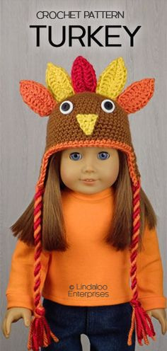"THANKSGIVING TURKEY HAT for AMERICAN GIRL DOLLS ❤ Crochet pattern in the book ""Amigurumi Holiday Hats for 18-Inch Dolls"" by Linda Wright. Book available at http://amazon.com/dp/0980092396/"
