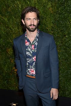 I like the floral shirt with a suit, but Michiel Huisman could wear a burlap bag and make it look good...