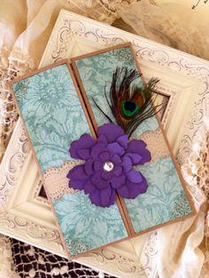 Shabby Chic Peacock Wedding Invitation by JennyPie5 on Etsy, $6.50