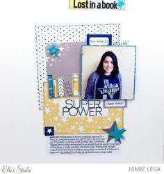 Superpower scrapbook layout by Jamie Leija for Elle's Studio