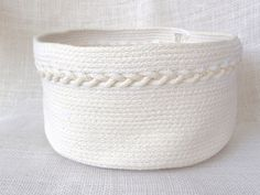White Coiled Rope Basket with Braid Detail by MountainThreadCo