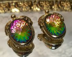 Vintage Whiting Davis Signed Watermelon Stone Rainbow Colored Clip On Earrings - Creation with Original Tag Card