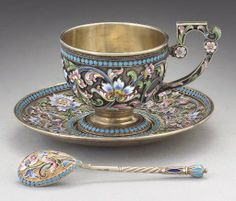 Late 19th century silver and enamel Maria Semenova teacup, saucer, and spoon.