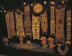 Polynesian backdrop from It's a Small World; created by Mary Blair