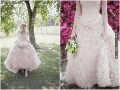 Blush Pink Ruffly Palm Springs Wedding Dress By Watters | CHECK OUT MORE IDEAS AT WEDDINGPINS.NET | #weddings #weddinginspiration #inspirational