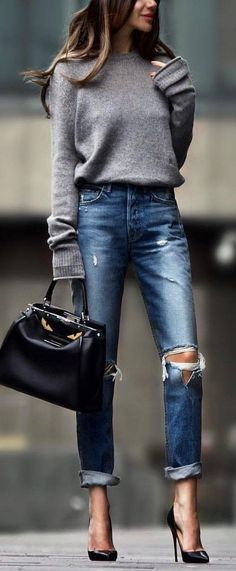 57 Total cute ripped jeans for every season - jeans ,mum jeans #jeans #fashion #denim