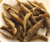 Marithes: Whole Fried Picarel or Whitebait Smelt. In Greek: μαρίδες, pronounced mah-REE-thess. The smaller the better as far as I'm concerned! If the fish are less than 2 inches long, they don't need to be gutted; from 2-3 inches long, they do, and anything over that is too big if it's a picarel! Whitebait smelt (the smallest smelt) is an acceptable substitute, up to 5-6 inches long, maximum.