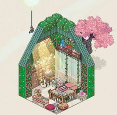 Habbo Hotel, Sims, Bedroom Drawing, Isometric Drawing, Fantasy Rooms, Tree House Designs, Fantasy Art Landscapes, Cute Art Styles, Cute House