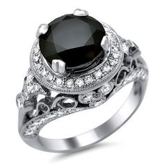 #blackdiamondgem 4.0ct Black Round Diamond Engagement Ring 14K White Gold Vintage Style by Front Jewelers - See more at: http://blackdiamondgemstone.com/jewelry/wedding-anniversary/engagement-rings/40ct-black-round-diamond-engagement-ring-14k-white-gold-vintage-style-com/#!prettyPhoto