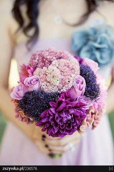 beautiful bouquet in purple tones