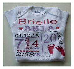 Personalized Baby Birth Announcement Baby Onesie