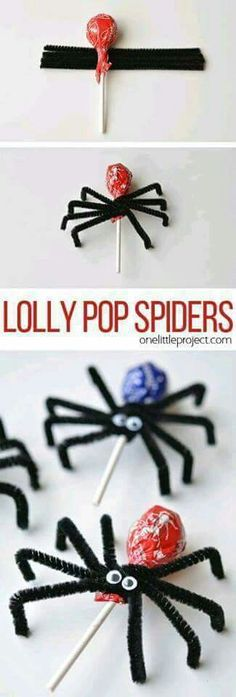 How to make Lolly Pop Spiders These lolly pop spiders are SO SIMPLE and look adorably creepy! Theyd make great party favours or a fantastic treat to send to school on Halloween! The post How to make Lolly Pop Spiders appeared first on Halloween Treats. Bonbon Halloween, Fete Halloween, Halloween Snacks, Halloween Birthday, Holidays Halloween, Happy Halloween, Halloween Decorations, Creepy Halloween, Halloween School Treats