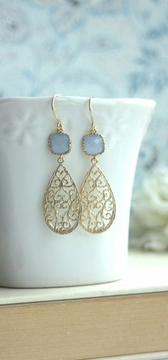 Cornflower Blue Paisley Filigree Sweet Ice Blue Gold Framed Glass Dangle Earring. Modern, Bridesmaid Gift. Sister, BFF, Wife, Something Blue. By Marolsha