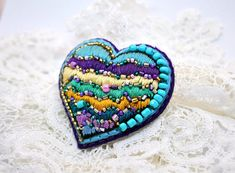 Valentine heart gift Beaded felt brooch pin Hand embroidery jewelry Gift for her for mom for girlfriend Modern embroidery art unique brooch Textile Art Pin. Turquoise Purple beaded brooch. Felt brooch based on filz imparting a convex shape and density. Hand embroidered. Beadwork. Safety