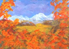 ACEO Snow Capped Mountains Fall Landscape Original Miniature Acrylic Collectible Painting Blue Skies Clouds by Pat Adams OOAK by PatAdamsArt on Etsy