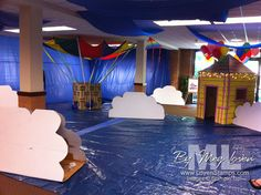 vbs-sky-theme-decorations I like the clouds on this one Vbs Themes, Classroom Themes, Hot Air Balloon Classroom Theme, Preschool Crafts, Crafts For Kids, Kids Church, Church Ideas, Holiday Program, Graduation Theme