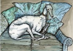 A Little Sentimental Greyhound Dog Print by AlmostAnAngel66, £15.00