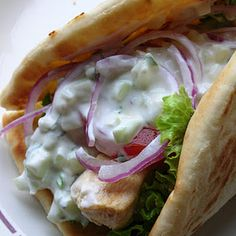 Basil, Chicken Gyros with Tzatziki Sauce Must try! I love gyros! I Love Food, Good Food, Yummy Food, Tasty, Delicious Recipes, Healthy Food, Healthy Recipes, Lebanese Recipes, Greek Recipes