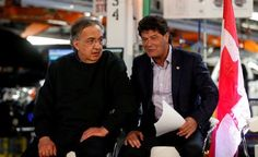 FCA CEO Sergio Marchionne (L) sits with Unifor union president Jerry Dias during the celebration of the production launch of the all-new 2017 Chrysler Pacifica minivan at the FCA Windsor Assembly plant in Windsor, Ontario, May 6, 2016. REUTERS/Rebecca Cook